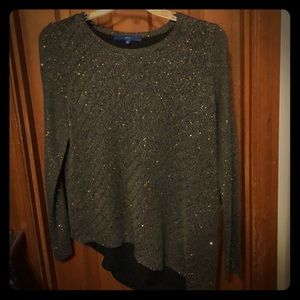 Apt 9- long sleeve grey knit with sequence blouse